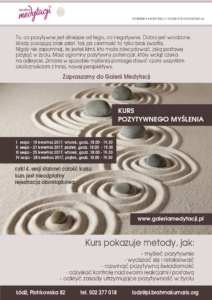 Kurs pozytywnego myślenia w Łodzi. Sesja 3 @ Galeria Medytacji w Łodzi