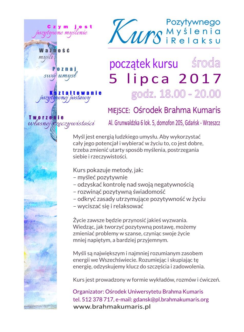Kurs pozytywnego myślenia w Gdańsku. Sesja 1 @ Ośrodek Brahma Kumaris w Gdańsku