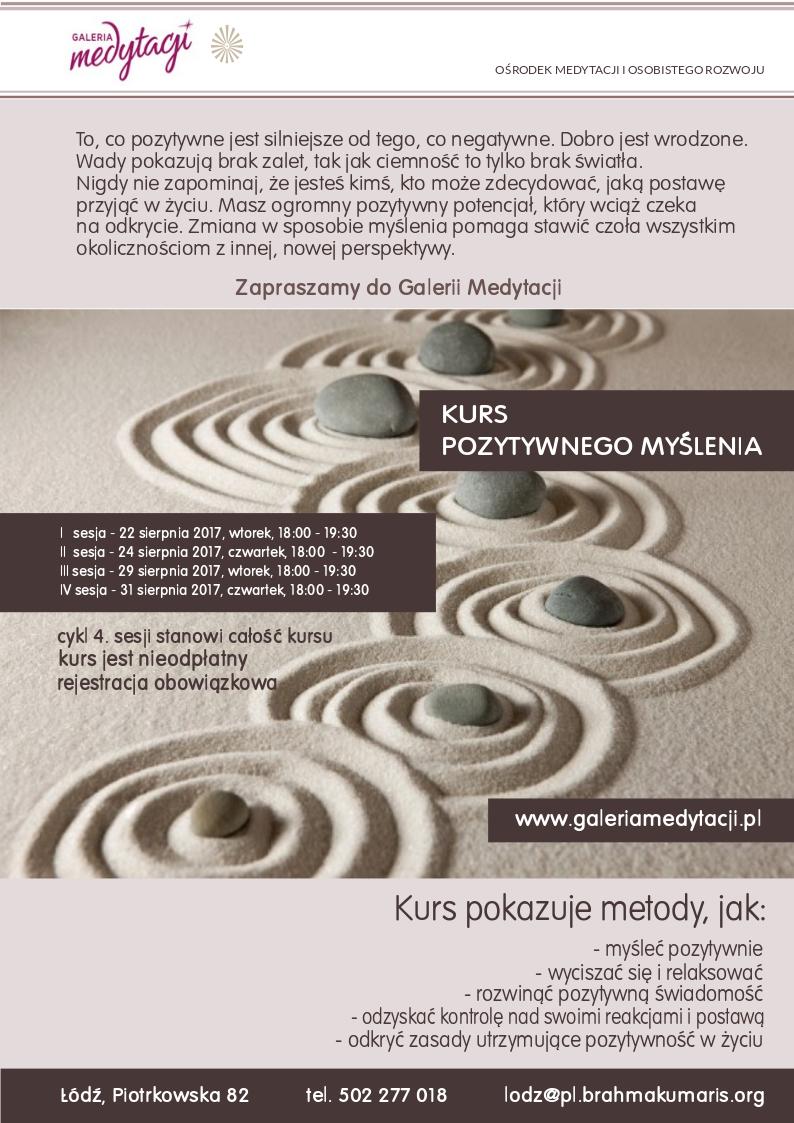 Kurs pozytywnego myślenia w Łodzi. Sesja 1 @ Galeria Medytacji w Łodzi