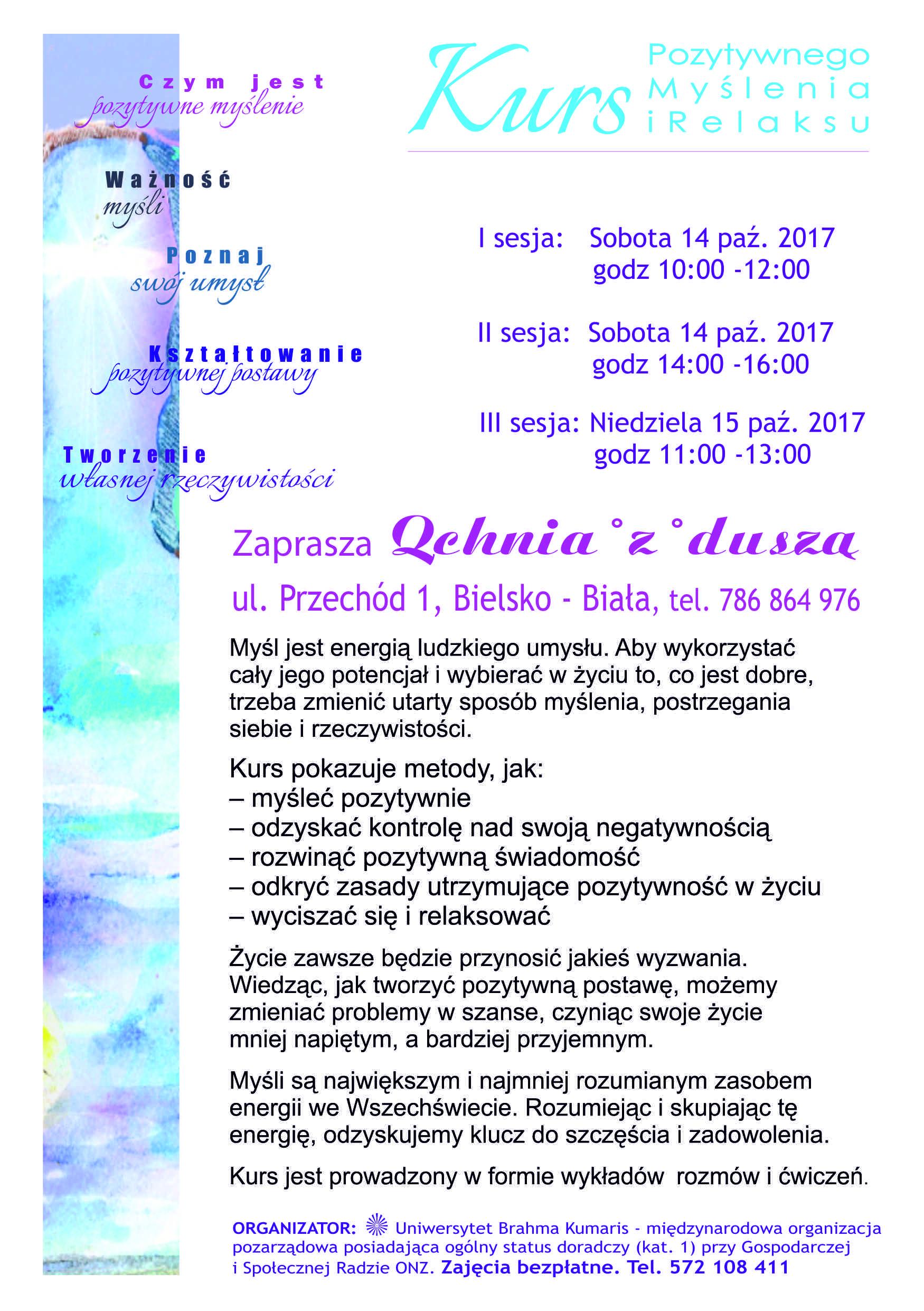 Kurs pozytywnego myślenia i relaksu w Bielsku-Białej. Sesja 1 @ Qchnia z duszą
