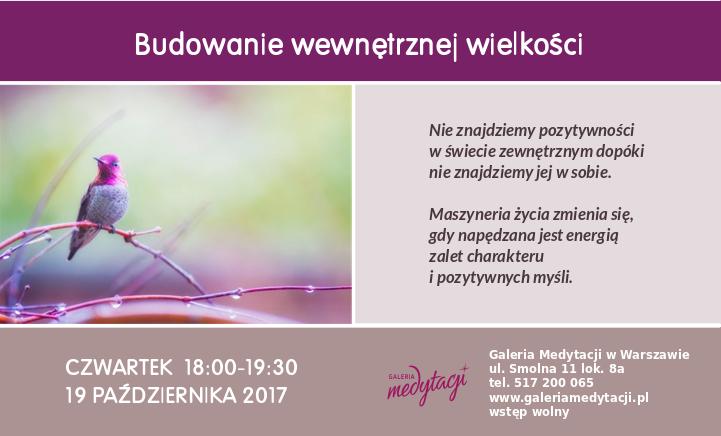 Budowanie wewnętrznej wielkości @ Galeria Medytacji w Warszawie
