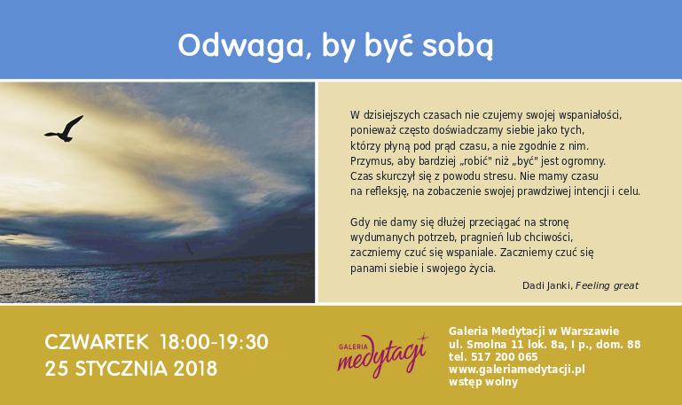 Odwaga, by być sobą. Spotkanie w Warszawie @ Galeria Medytacji w Warszawie