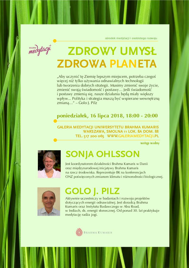 Zdrowy umysł, zdrowa planeta. Spotkanie z gośćmi specjalnymi w Warszawie @ Galeria Medytacji w Warszawie
