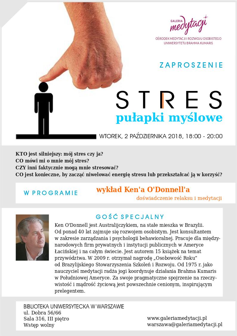 STRES - pułapki myślowe. Spotkanie w Warszawie z gościem specjalnym Kenem O'Donnell @ Biblioteka Uniwersytecka w Warszawie, sala 316