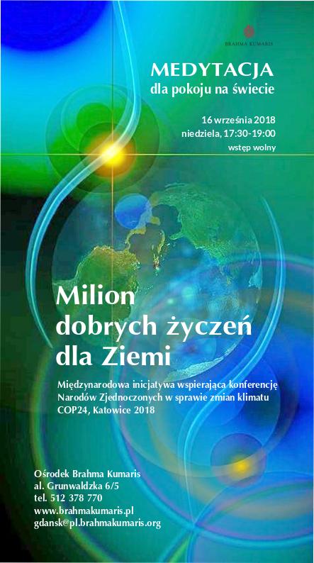 Medytacja dla pokoju na świecie w Gdańsku. Inicjatywa: Milion dobrych życzeń dla Ziemi @ Ośrodek Brahma Kumaris w Gdańsku