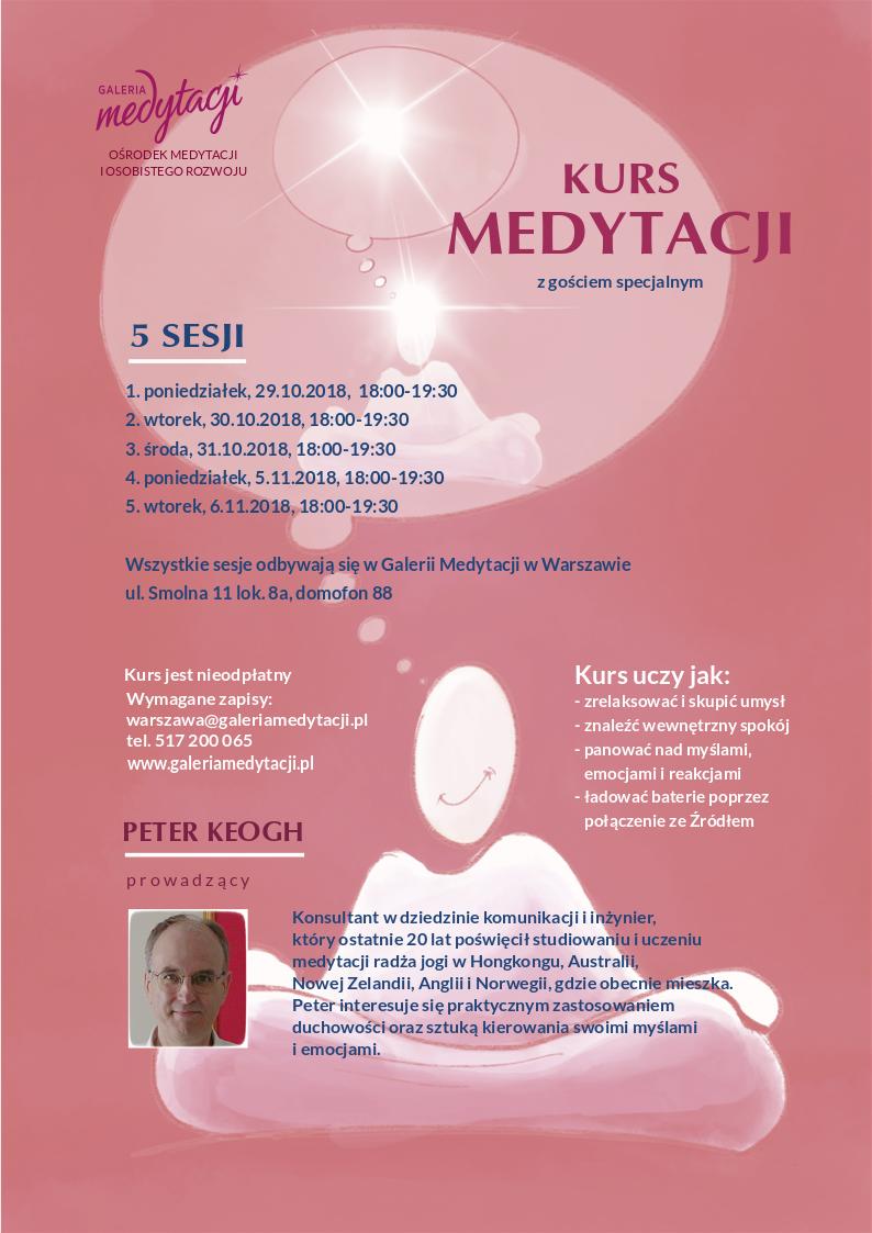 Kurs medytacji w Warszawie (5 sesji). Kurs prowadzi gość specjalny, Peter Keogh z Oslo @ Galeria Medytacji w Warszawie