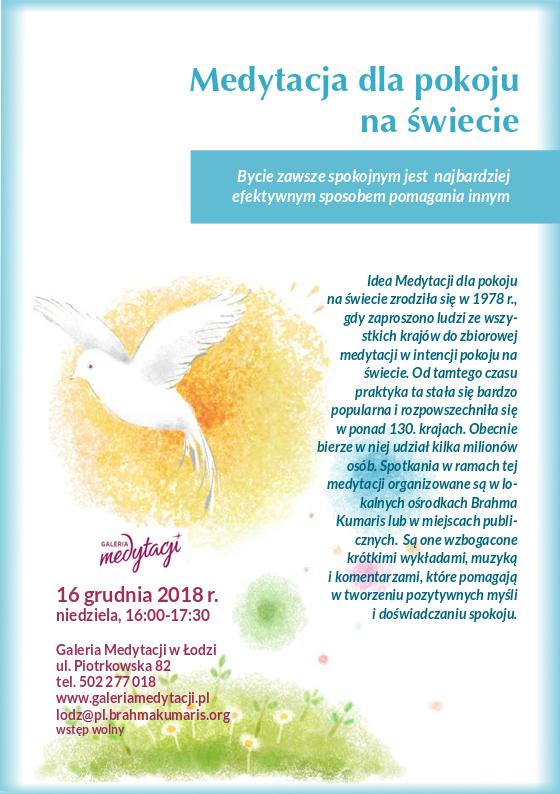 Medytacja dla pokoju na świecie w Łodzi @ Galeria Medytacji w Łódzi