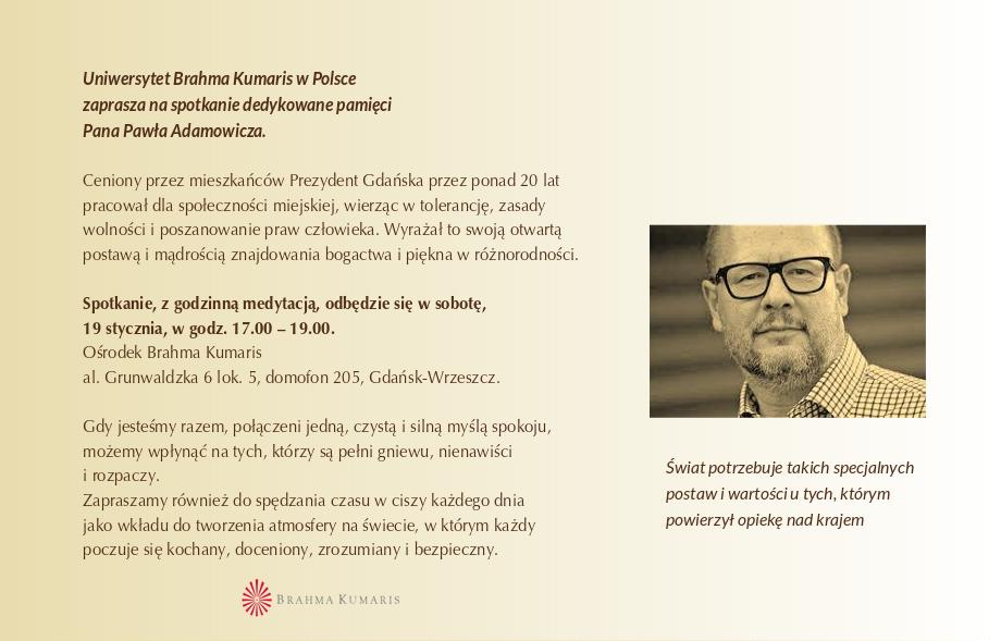 Zaproszenie na spotkanie dedykowane pamięci Pana Pawła Adamowicza @ Ośrodek Brahma Kumaris w Gdańsku