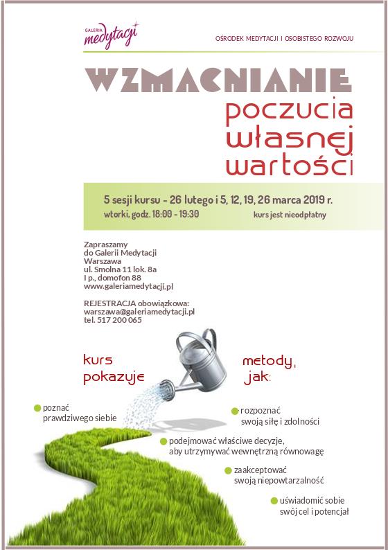 Kurs Wzmiacnianie poczucia własnej wartości w Warszawie @ Galeria Medytacji w Warszawie