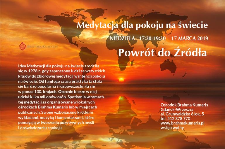 Powrót do Źródła. Medytacja dla pokoju na świecie w Gdańsku @ Ośrodek Brahma Kumaris w Gdańsku
