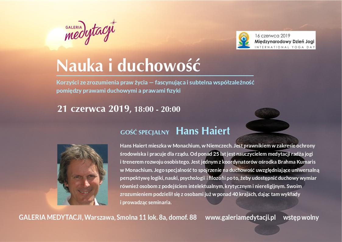 Nauka i duchowość. Spotkanie z gościem specjalnym z Niemiec, Hansem Haiert'em. Spotkanie w Galerii Medytacji w Warszawie @ Galeria Medytacji w Warszawie