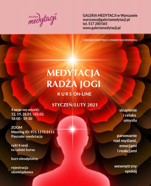 Online kurs Medytacji Radża jogi. Sesja 1 @ wydarzenie online