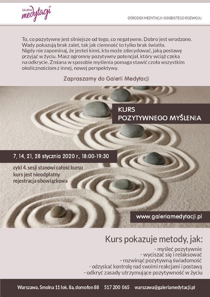 Kurs pozytywnego myślenia w Warszawie. Sesja 1 @ Galeria Medytacji w Warszawie