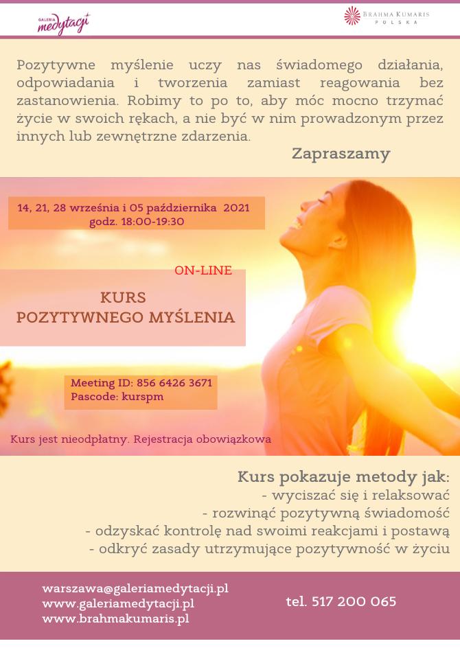 Kurs pozytywnego myślenia. Online. Sesja 4 @ Galeria Medytacji w Warszawie
