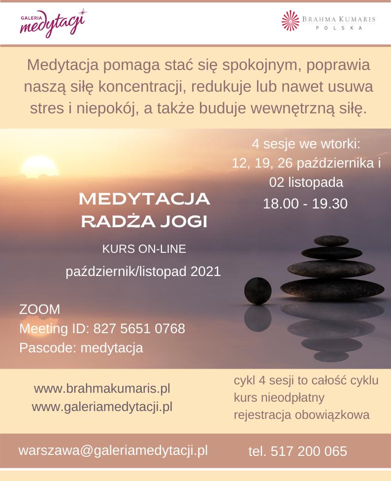 Kurs medytacji radża jogi online @ Galeria Medytacji w Warszawie
