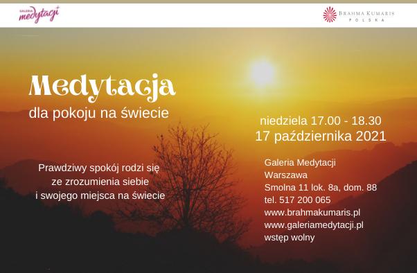 Medytacja dla pokoju na świecie w Warszawie. Galeria Medytacji w Warszawie @ Galeria Medytacji w Warszawie