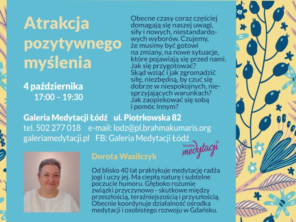 Atrakcja pozytywnego myślenia. Spotkanie w Galerii Medytacji w Łodzi @ Galeria Medytacji w Łodzi